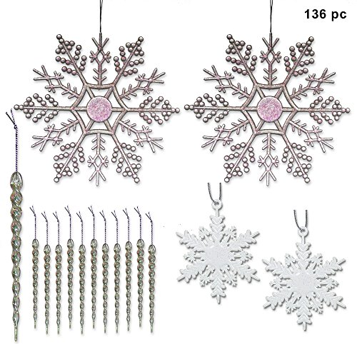 Snowflake and Icicle Ornaments - Pack of 136 - 2