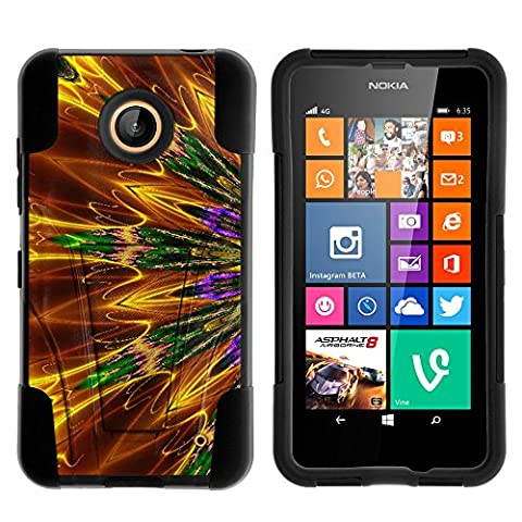 Nokia Lumia 635 Case, Nokia Lumia 630 Case, Durable Hybrid STRIKE Impact Kickstand Case with Art Pattern Designs for Nokia Lumia 635, 630 (AT&T, Sprint, T Mobile, Cricket, Virgin Mobile, Boost Mobile, MetroPCS) from MINITURTLE | Includes Clear Screen Protector and Stylus Pen - Kaleidoscopic (Nokia Lumia 635 Cases For Guys)
