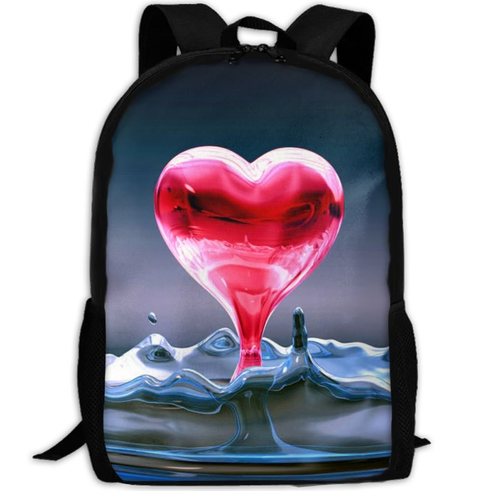 OIlXKV Red Heart From Water Splash Print Custom Casual School Bag Backpack Multipurpose Travel Daypack For Adult