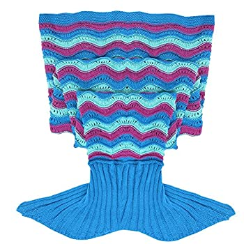 YiZYiF Mermaid Tail Blanket Handmade Crochet Cozy Soft Living Room Sleeping Bag For Kids Adult Teen (Wave Blue Purple(Adults))