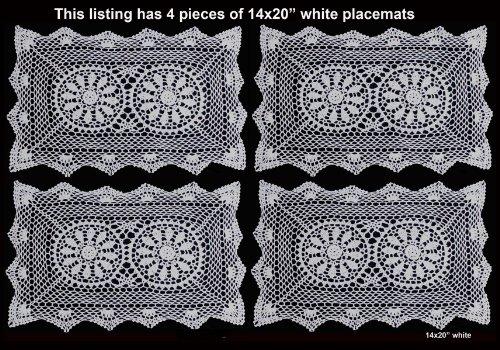 Creative Linens 4PCS 14x20 Crochet Lace Placemats White 100% Cotton Handmade, Set of 4 Pieces