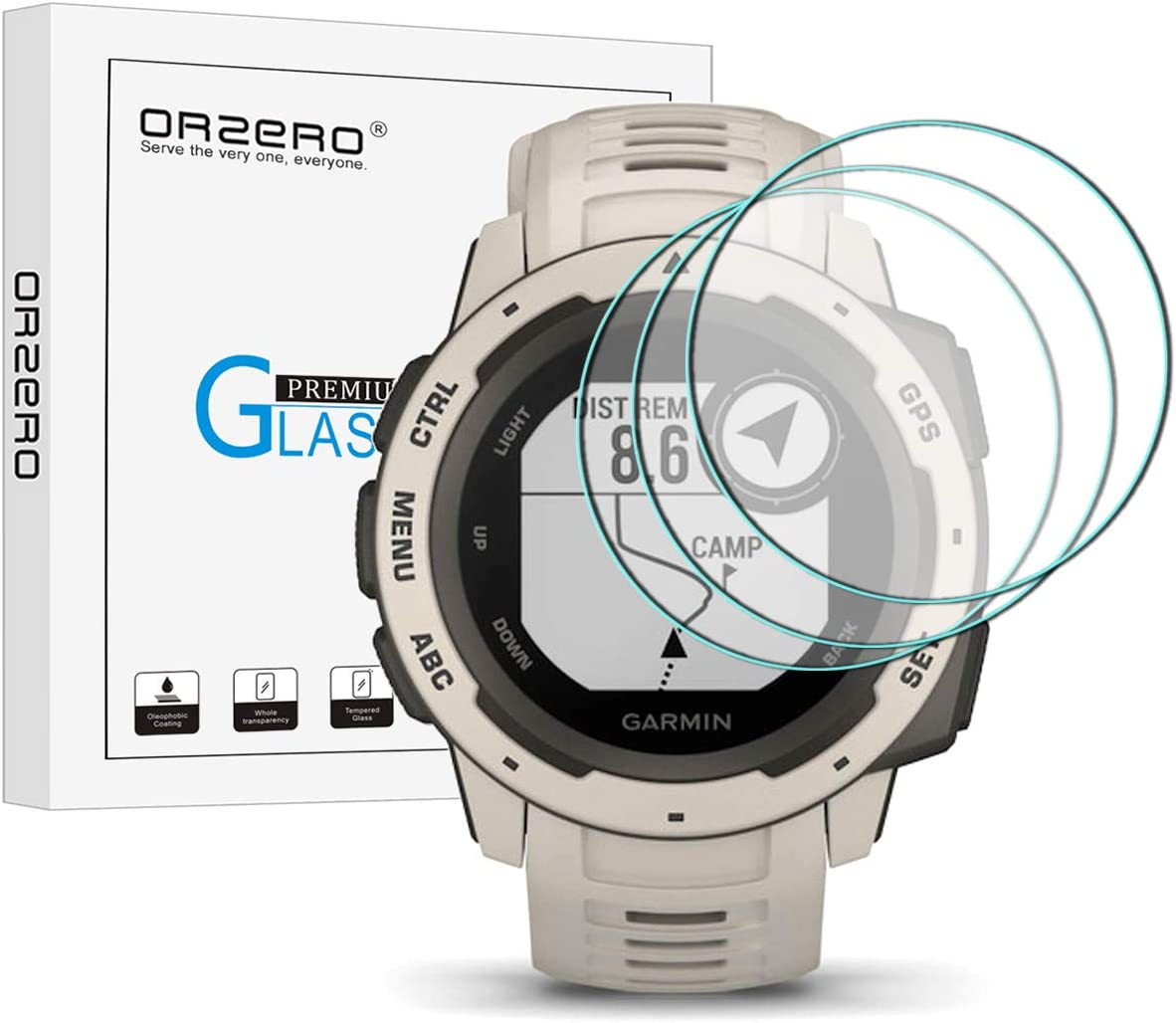 (3 Pack) Orzero Compatible for Garmin Instinct Smartwatch Tempered Glass Screen Protector, 2.5D Arc Edges 9 Hardness HD Anti-Scratch Bubble-Free (Lifetime Replacement)