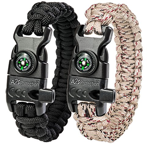 College Gifts Sports (A2S Protection Paracord Bracelet K2-Peak – Survival Gear Kit with Embedded Compass, Fire Starter, Emergency Knife & Whistle (Black / Sand Camo 8.5