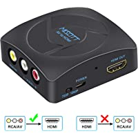 [Upgraded Version] MISOTT RCA Composite CVBS AV to HDMI Scaler Converter Adapter, Supports 720P/ 1080P Output Switch for PS2, N64, Wii, TV STB, VHS, VCR Camera, DVD(Black)