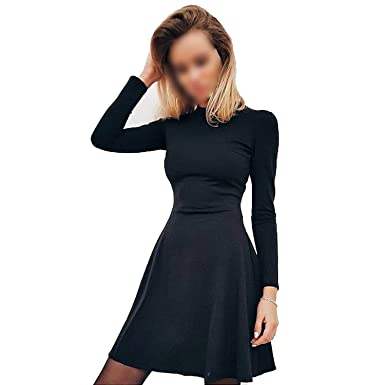 cfd92816e31e Warm Space Casual Fall Women Long Sleeve Bodycon Party Dresses Autumn Winter  Slimming Elegant Temperament Quality