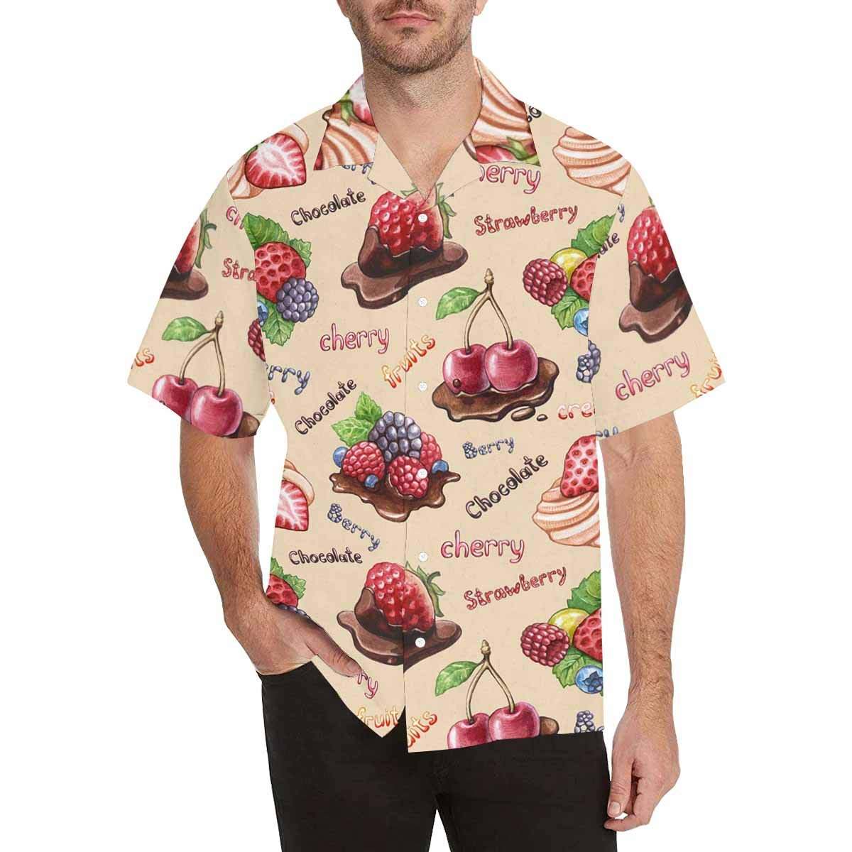 InterestPrint Comfortably Collared Watercolor Berry Casual Shirts V-Neck Short Sleeve Beach Top