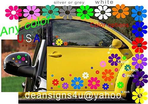 40 Car Flowers Daisy Bright Rainbow SET sticker Decals from USA VW Boat Golf Cart Kayak - Professional Decal Set