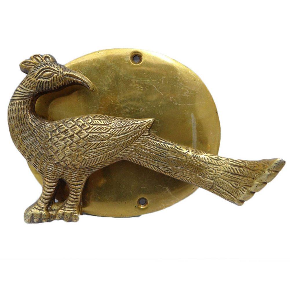 ピーコックデザイン真鍮メタルドアノッカーHand Carved Golden Figurineインディアンアート B071L3MCHH