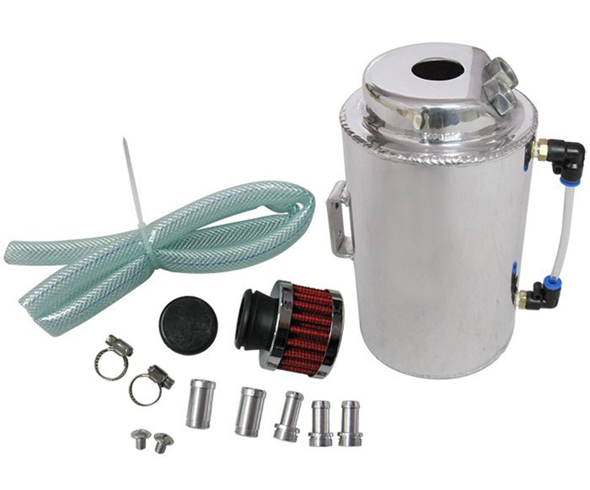 Universal 2 Litre Oil Catch Tank With Breather Filter Oil Catch Can Oil Breather Tank YiPin EP-YX9401-2