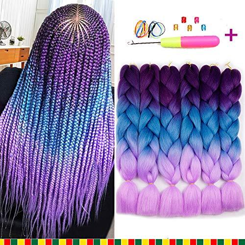6 Pcs Ombre Braiding Hair Synthetic Hair Crochet Braids 100g Kanekalon Fiber 24inch Jumbo Braids Hair Extensions (Purple to Blue to Pink)
