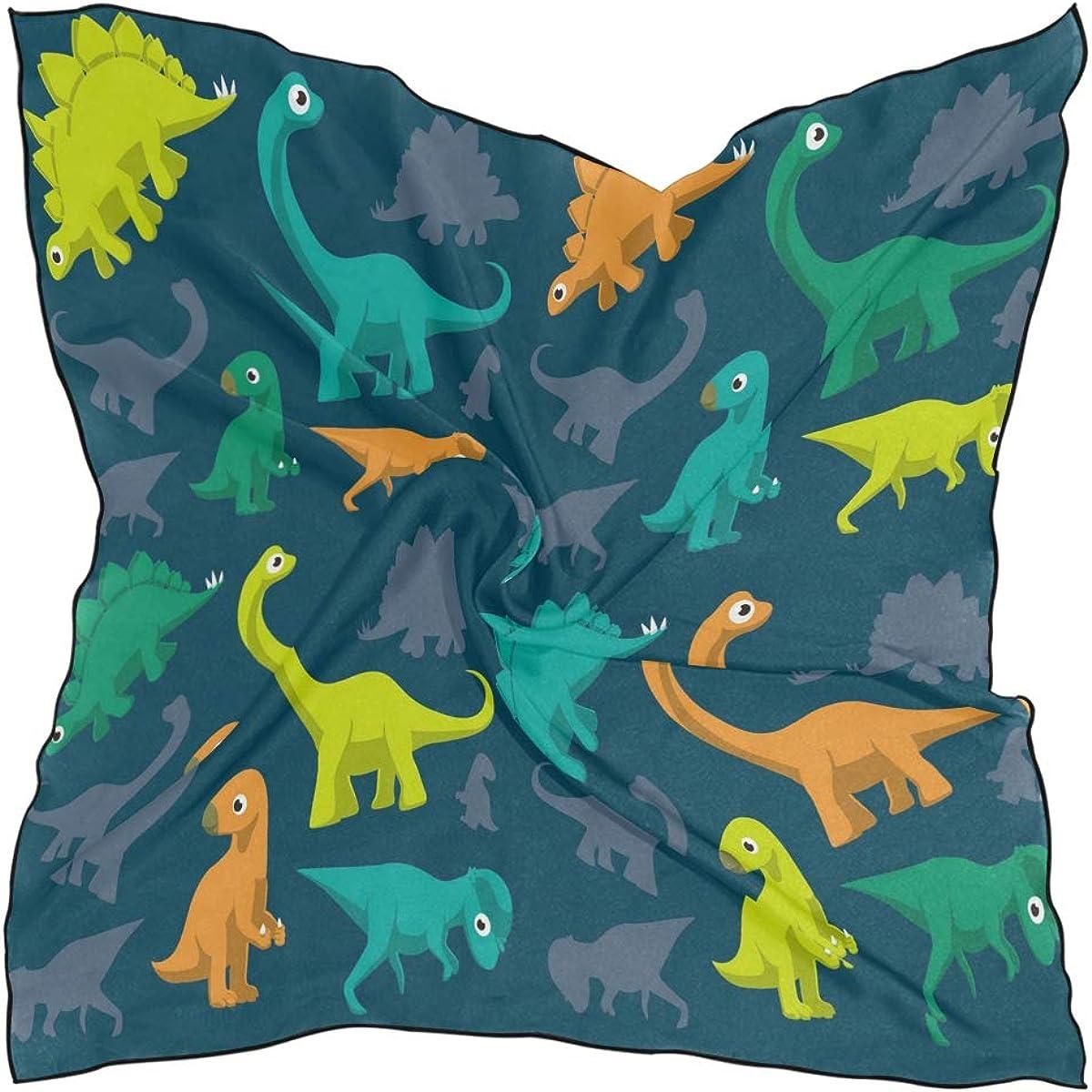 NaiiaN Pañuelos de cabeza cuadrada para mujer Señoras Caballo Patrón de dinosaurios de dibujos animados lindo Pañuelo 60 × 60 CM Bufanda chal de impresión ligera