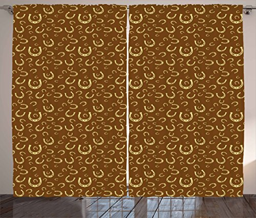 Ambesonne Western Curtains, Horse Shoe Motif Vintage Pattern with Star Barn Lucky Charm Design, Living Room Bedroom Window Drapes 2 Panel Set, 108 W X 84 L Inches, Yellow Brown