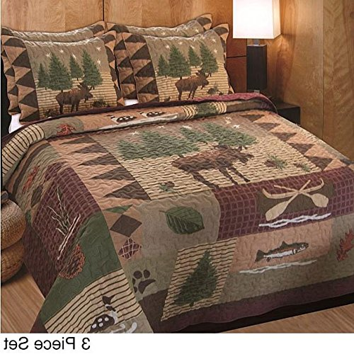 3 Piece Brown Full Queen Size Animal Print Patchwork Quilt Set, Rustic Cabin Theme Moose Forest Lake House Cottage Bear Rectangle Square Evergreen Tree, Cotton, Microfiber, Polyester, Synthetic Fiber