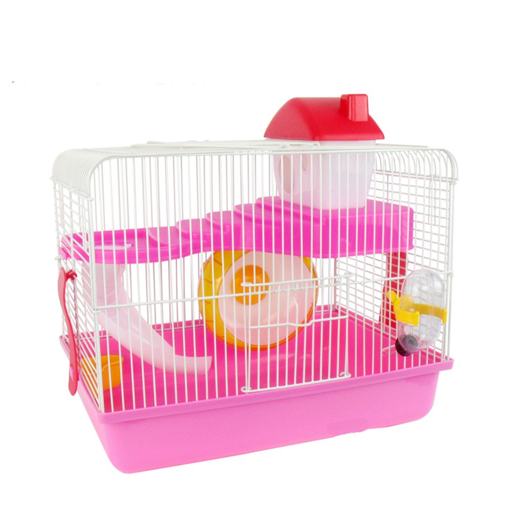 LINA 2 Storey Levels Floor Small Pet Habitat Dwarf House Water Bottle Wheel Cage Portable Hamster Gerbil Mouse 13.789.4412.99 inch Pink