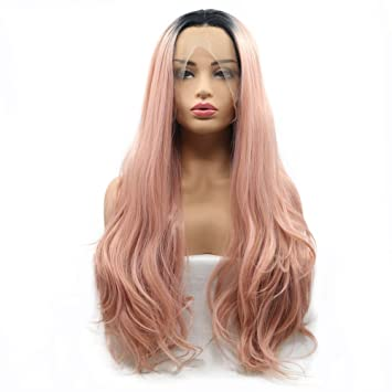Rose Gold Wig Ombre Black Roots Heat Resistant Body Wave Long Synthetic Hair Lace Front Wigs