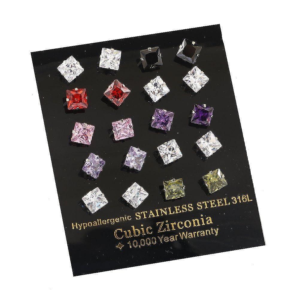 Set of 10 GemStorm Hypoallergenic Stainless Steel Assorted 7mm Square Cubic Zirconia Stud Earrings 0098542