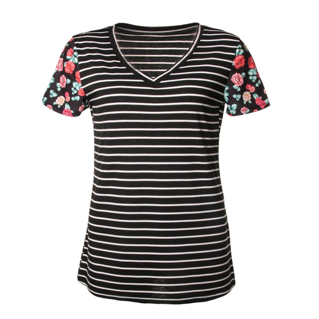 Amazon.com: FORUU womens Tops & Tees T Shirts for Womens, FORUU Casual Stitching Striped Short Sleeve V Neck Blouses: Clothing