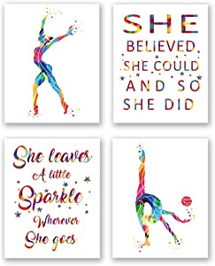 "XUN Girls Gymnastics with Inspirational Quote Art Print- Watercolor Sports Dancing Quote Canvas Wall Art-(8""X10""X4 Pieces, Unframed)-Perfect for Girls Bedroom Decoration"