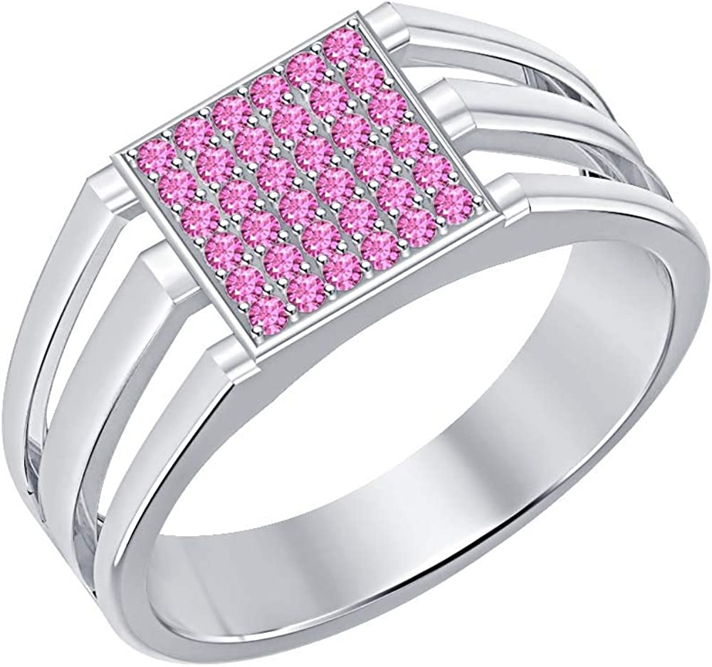 SVC-JEWELS 14k White Gold Plated 925 Sterling Silver Pink Sapphire Cluster Engagement Wedding Band Ring Mens