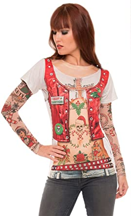 1d9b950663ab2 Amazon.com  Faerynicethings Adult Size Ladies Ugly Xmas Shirt with Tattoo  Sleeves - Christmas - 5 Sizes  Clothing
