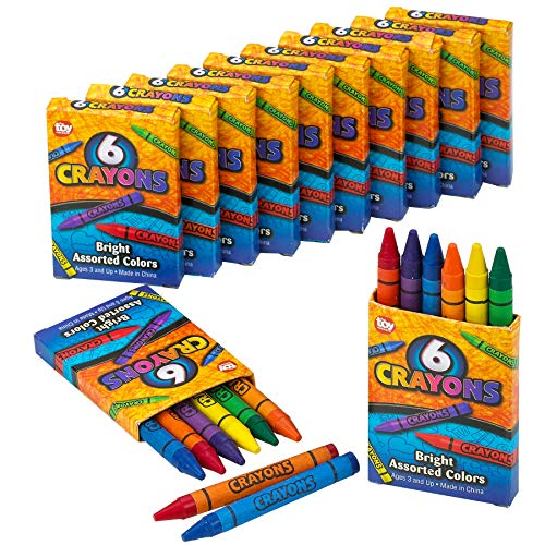 - Kicko Crayon Set - 12 Packs with 6 Pc Assorted Coloring Crayons in Each Pack - A Total of 72 Crayons, Perfect for School and Office Supplies, Arts and Crafts, DIY Projects, Painting, Color Collection