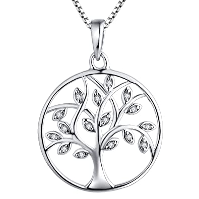 c4ae2802c10f8 YL Tree Necklace Sterling Silver Tree of Life Pendant Gemstone White Gold  Plated Christams Jewelry