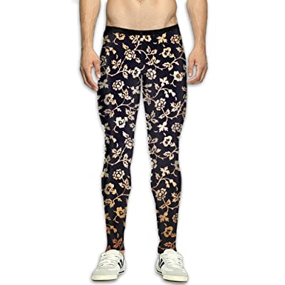 Olivefox Fit Clothes UV for Men Compression Sports and Fitness Tights Workout Pants Breathable Colorful Flowers Cool Dry Baselayer Running Leggings Yoga 3D Apparel Print Pant