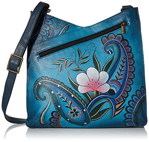 (Anna by Anuschka Women's Genuine Leather Large V Top Multi-Compartment Cross Body | Hand Painted Original Artwork | Denim Paisley Floral)