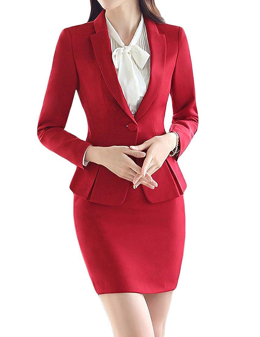 MFrannie Women's Business Office OL Blazer Jacket and Skirt Suit Set