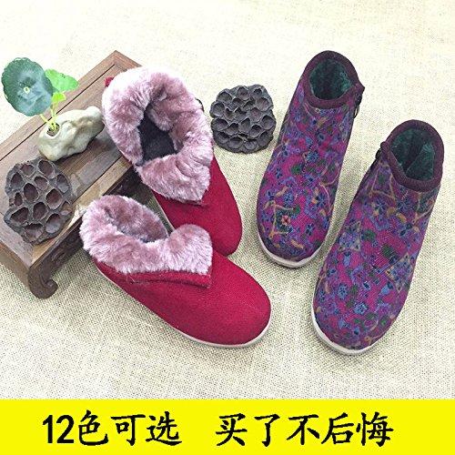 Par coton chaussures vieil Main chaussures antidérapantes de coton velours Faits chaussons de chaud à Sac Femme coton avec épais chaussures homme Chaussures un plus 43 Hiver coton coton de Chaussure nbsp; TgnAgw7qZ