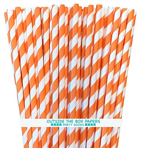 Stripe Paper Straws - Orange White - 7.75 Inches - Pack of 100 - Outside the Box Papers Brand (Halloween Stripe Paper)