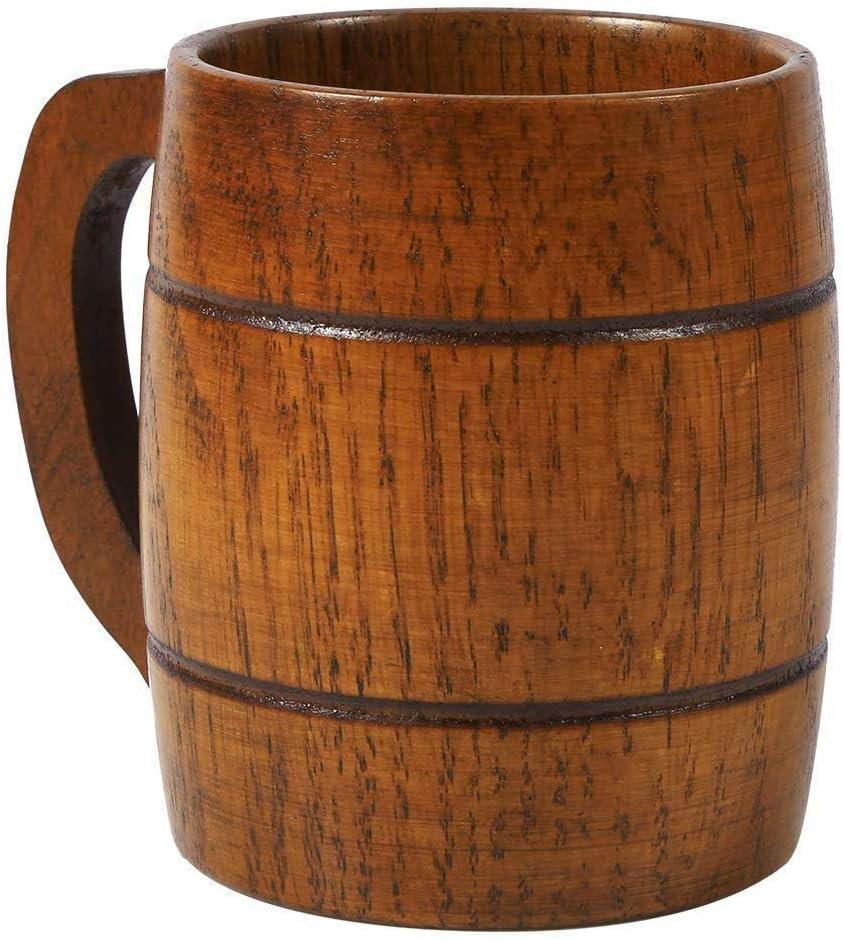 Suszian Jarra de Cerveza de Madera, jarras de Cerveza de Barril, Jarra de Cerveza de Madera Vintage de 350 ml con asa Taza de Bebida de Gran Capacidad