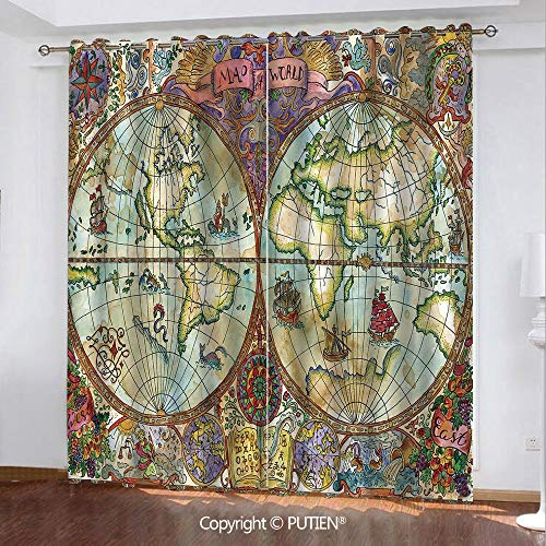 Satin Grommet Window Curtains Drapes [ Watercolor,Vintage World Map Antique Grunge Drawings Mystic Symbols Adventure Discovery Decorative,Multicolor ] Window Curtain for Living Room Bedroom Dorm Room ()