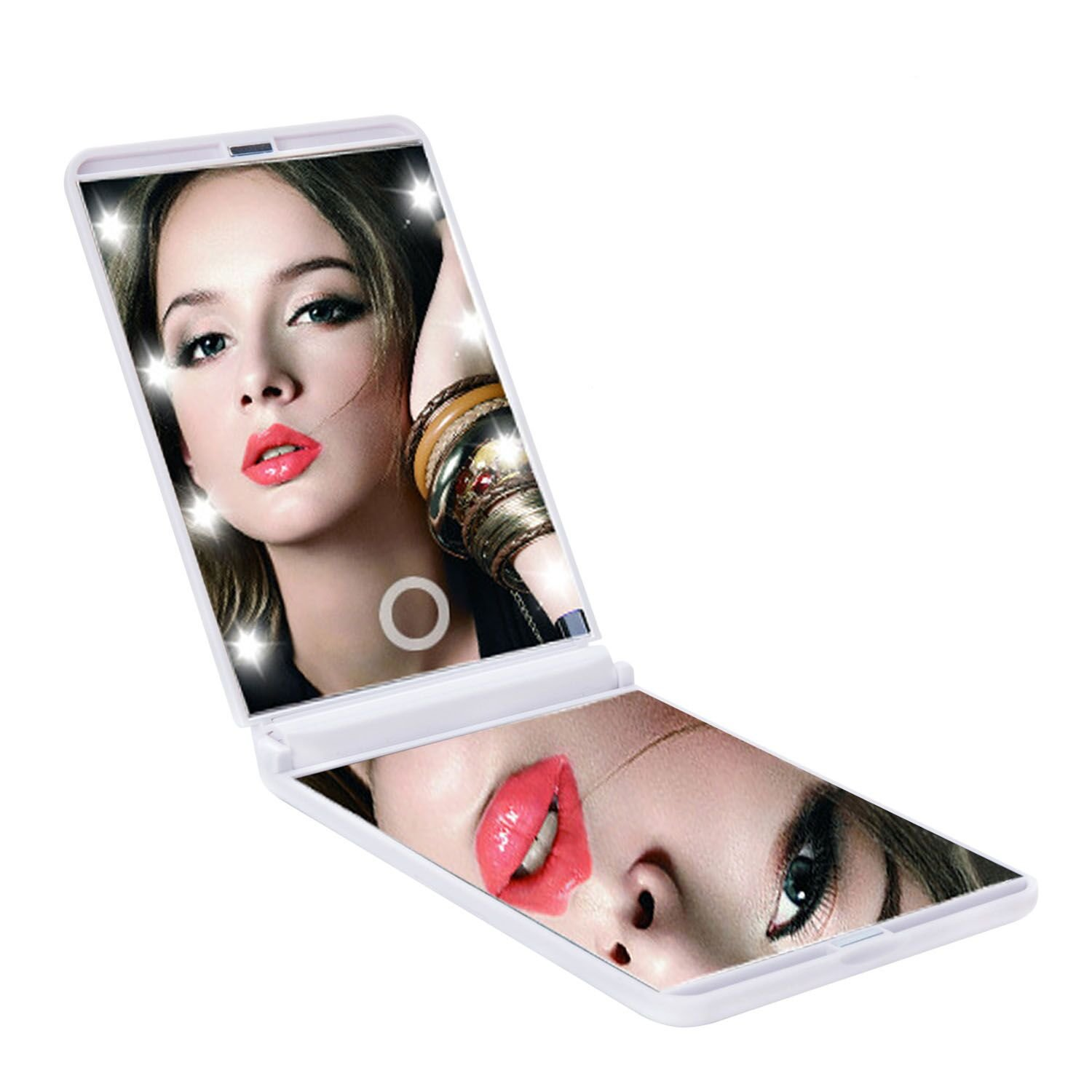 LED Touch Switch Makeup Mirror with 8 Dimmable Led Lights Daily and Travel Portable Vanity Mirror AUTO PDR