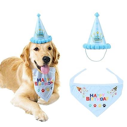 AOLVO Dog Birthday Hat And Bandana Boy Set Adjustable Pet Happy Cute Doggie Scarf Party Decorations