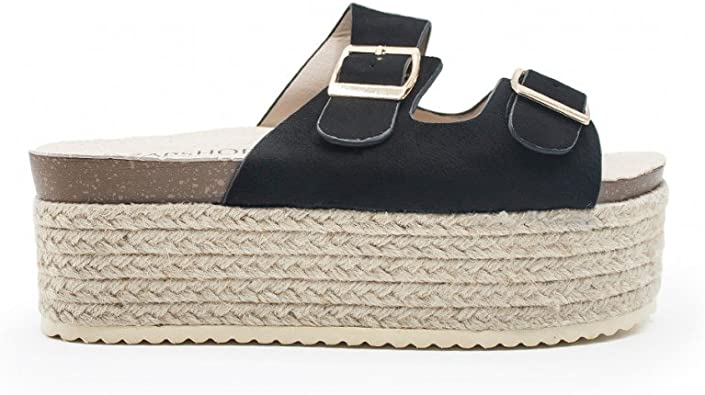 ZAPSHOP Zapatos Blucher de Plataforma de Esparto con Doble