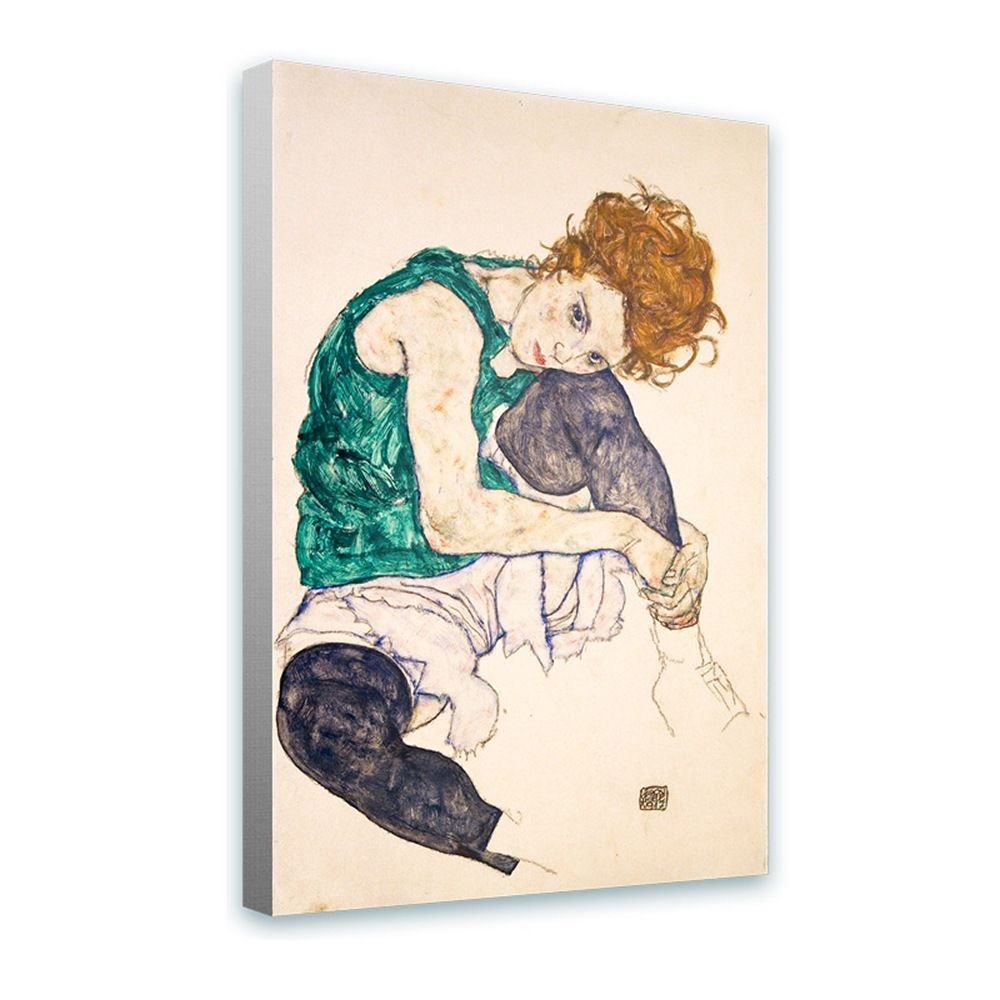 Alonline Art - Sitting Woman Legs Drawn Up Egon Schiele Framed Stretched Canvas (100% Cotton) Gallery Wrapped - Ready to Hang | 28''x42'' - 71x107cm | for Living Room Framed Paintings Framed Art