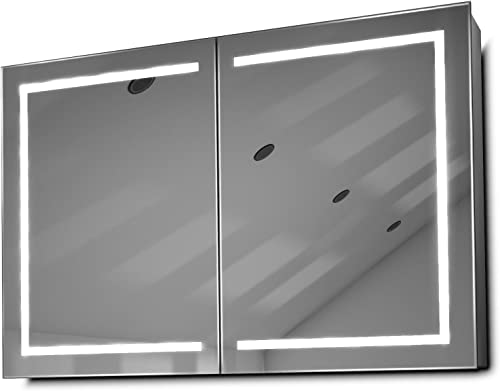 DIAMOND X COLLECTION Lea LED Bathroom Mirror Cabinet with Demister Pad, Sensor Shaver k374