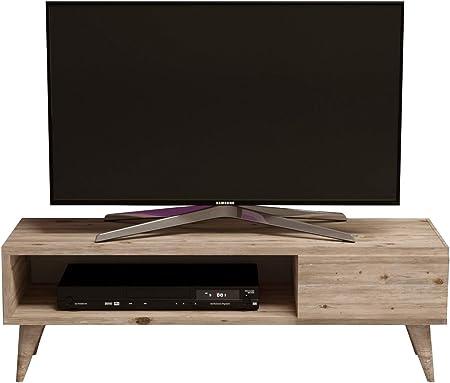 MAYA Mueble salón comedor para televisión con 1 puerta y estante - Naturaleza colour de la madera - Mueble bajo para televisor - Mesa de Televisión en diseño elegante: Amazon.es: Hogar