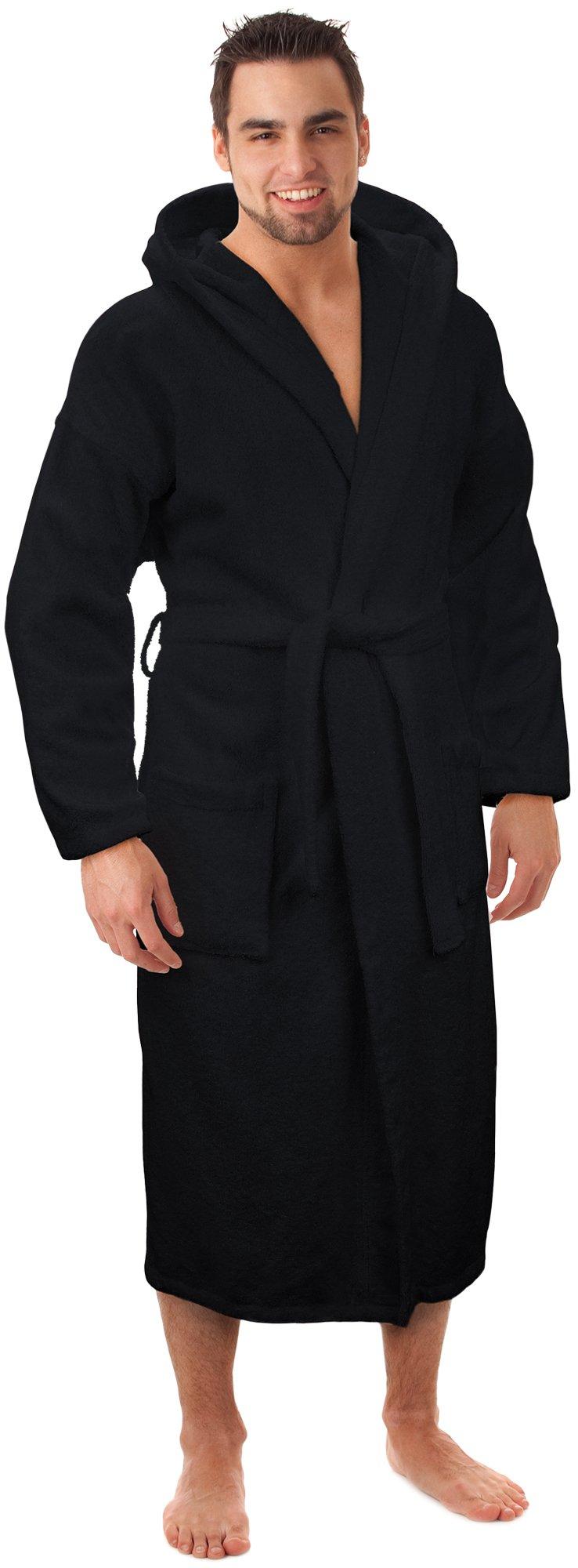 Hooded Terry Bathrobe Made in Turkey,Black-S/M