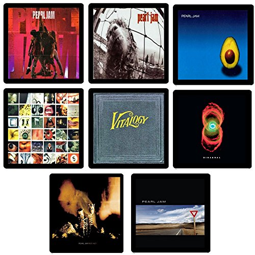 Pearl Jam Collectible MEGA Coaster Gift Set - (8) Different Album Covers Reproduced Onto Soft Coasters - Coaster Pearl