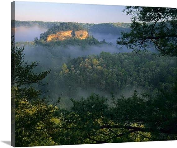 Kentucky Fog At Sunrise Red River Canvas Wall Art Print Kentucky Artwork Posters Prints