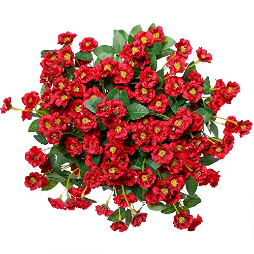 Veryhome Artificial Small Rose Wildflowers Fake Outdoor Flowers Bouquet Silk Floral Indoor Outside Hanging Planter Home Kitchen Office Wedding Garden Decor 3pcs (Red)
