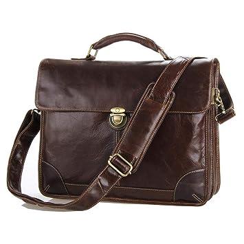 Circlefly Moda Europea y americana cabeza cuero hombre bolso lleva bandolera bolsa negocios cartera de cuero: Amazon.es: Hogar