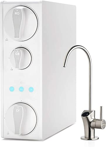 iSpring RO500 Tankless RO Reverse Osmosis Water Filtration System, 500 GPD Fast Flow, Smart Faucet with TDS Monitoring, 2 1 Pure to Drain Ratio, White