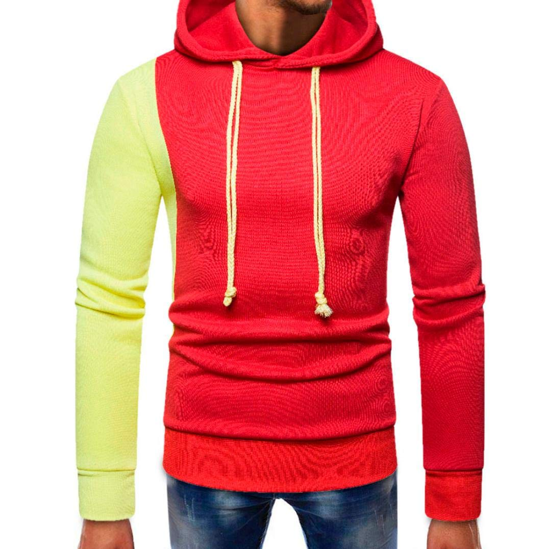 kaifongfu Sweater Top for Men,Long Sleeve Pullover Tops with Splicing Pocket Blouse(Red,XL)