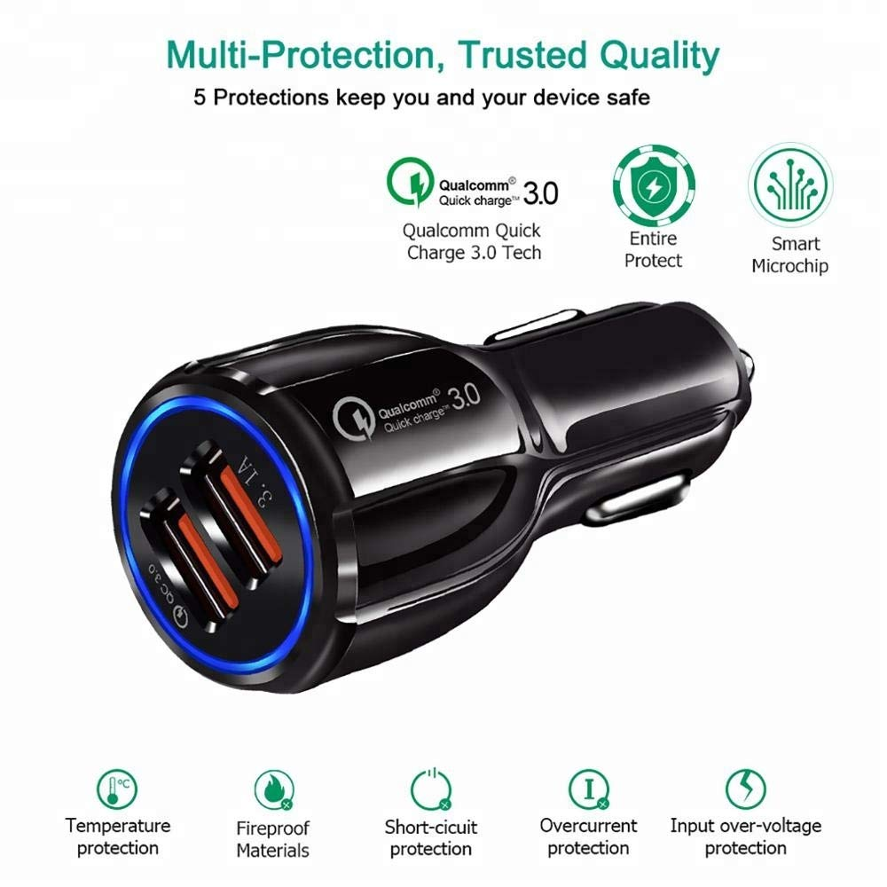 Black KZINE Car Charger Compatible with Apple /& Android/KZINE Car Charger Dual USB Quick Charge Smart IC