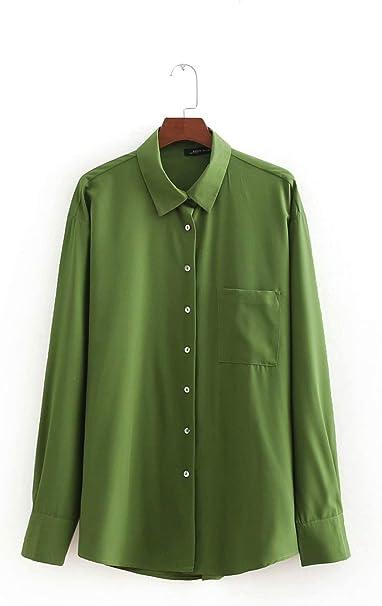YuQuanXin Camisa Verde Camisa De Manga Larga para Mujeres (Color : Green, Size : M): Amazon.es: Hogar