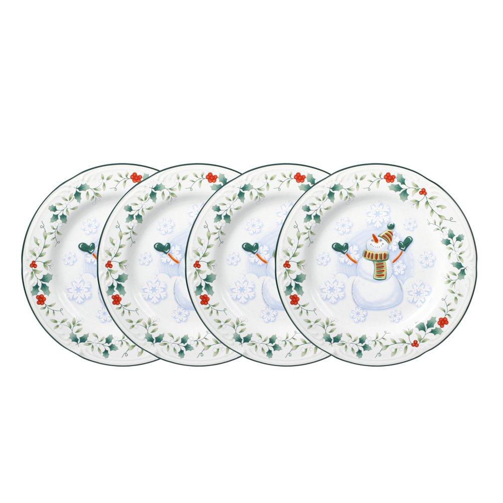 Pfaltzgraff Winterberry Snowman Salad Plate (8-Inch, Set of 4)
