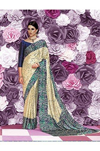 Traditional Women for Sari Cream Da Sarees Party Designer Facioun Indian Wedding Wear 7cWWPy4vIR